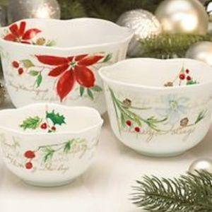Lenox 3 piece winter meadow nesting bowl  set